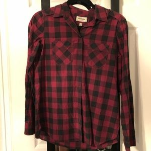 Express Dark Red Plaid Shirt